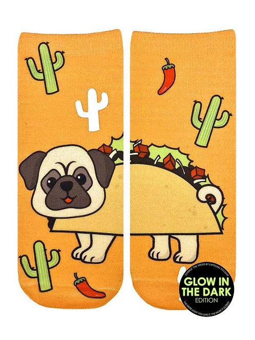 Living Royal Glow in the Dark Taco Pug  Ankle Sock