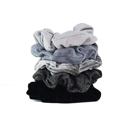 Kitsch Velvet Scrunchies Grey Set of 5