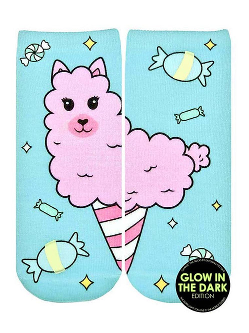 Living Royal Glow in the Dark Cotton Candy Llama Ankle Sock