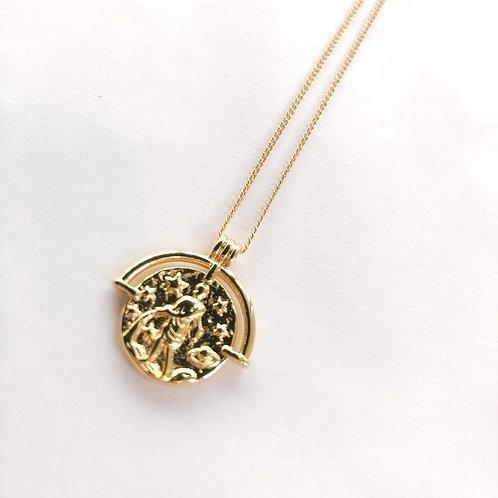 Jocelyn Kennedy Zodiac Sign Necklace- Gold Aquarius