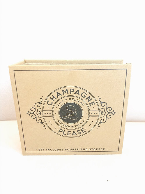 Cardboard Book Set Champagne Pourer and Stopper
