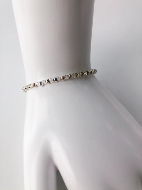 Jocelyn Kennedy Silver Bead and Clear Crystal Bracelet