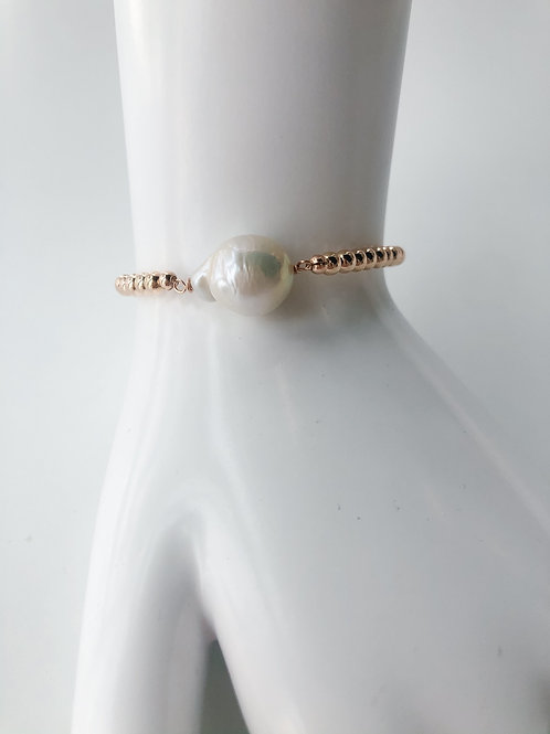 Jocelyn Kennedy Rose Gold Beaded Large Baroque Pearl Bracelet