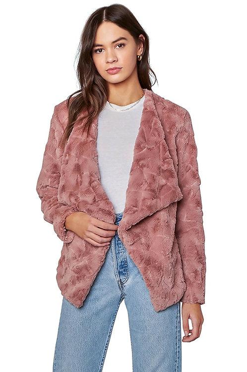 BB Dakota Come Cozy Faux Fur Jacket Rose Taupe