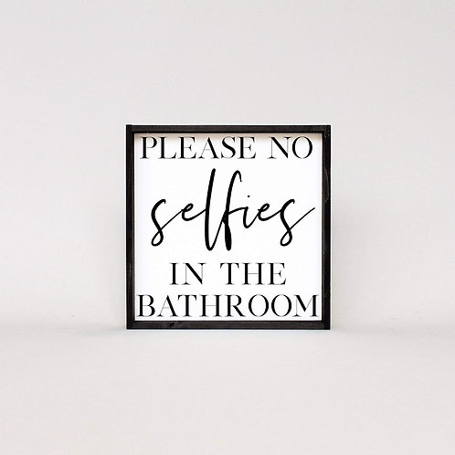 William Rae No Selfies Sign Ebony Frame