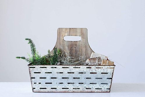 Wood And Metal Caddy With 9 Compartments