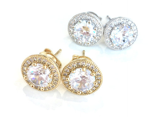 Jocelyn Kennedy Crystal Halo Stud Earrings