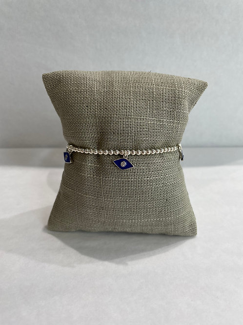 Jocelyn Kennedy Silver Enamel Bracelet: Navy Charms