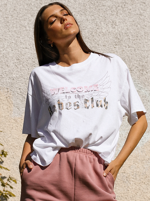 Brunette The Label Welcome To The Babes Club Vintage Boxy Tee White