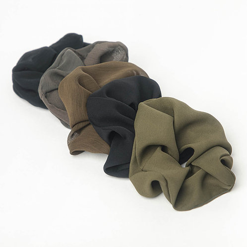 Kitsch Crepe Scrunchies 5 pack- Moss