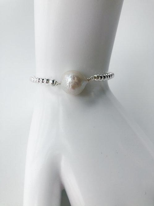 Jocelyn Kennedy Silver Beaded Large Baroque Bracelet