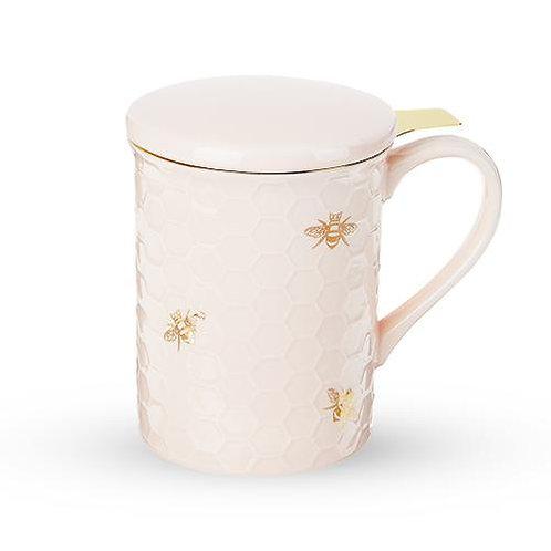 Pinky Up Annette Honeycomb Ceramic Tea Mug & Infuser