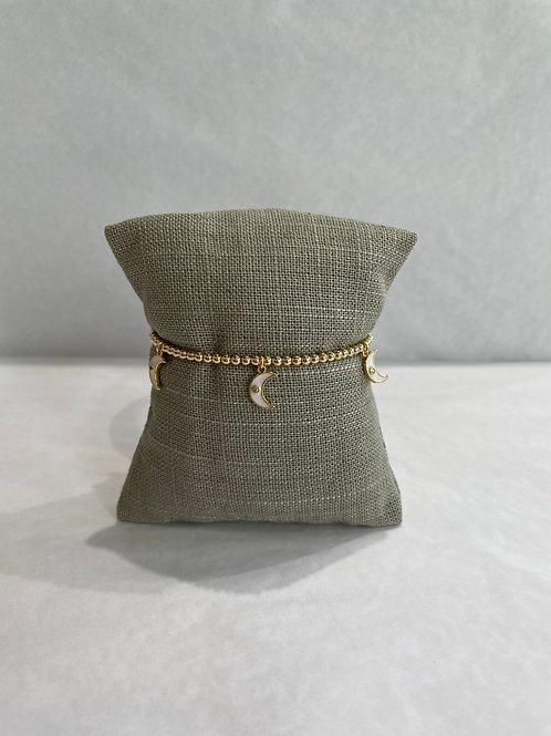 Jocelyn Kennedy Gold Enamel Bracelet: White Charms