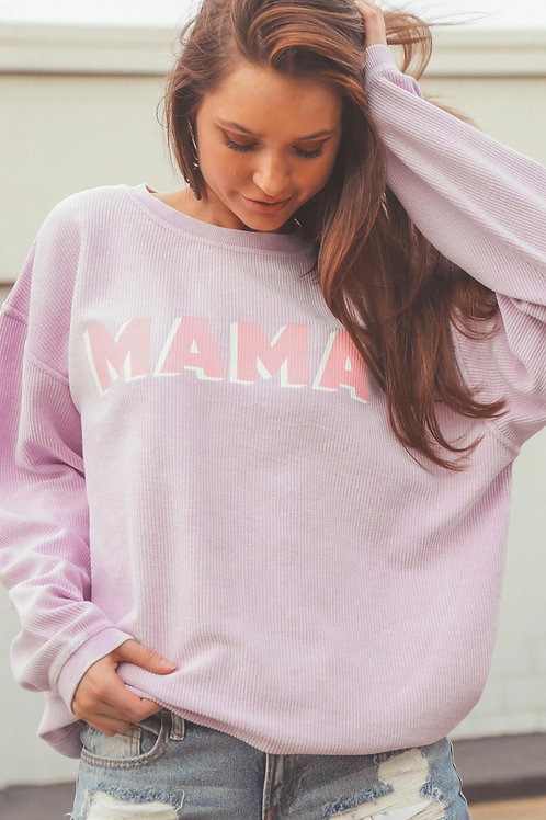 Friday + Saturday Mama Corded Sweater - Lilac
