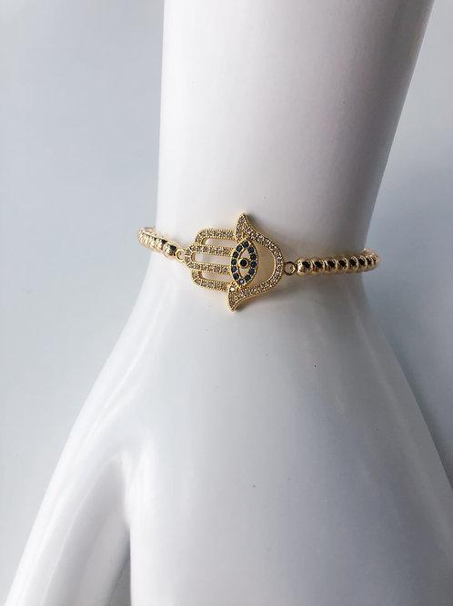 Jocelyn Kennedy Gold Beaded Crystal Hamsa Hand Bracelet