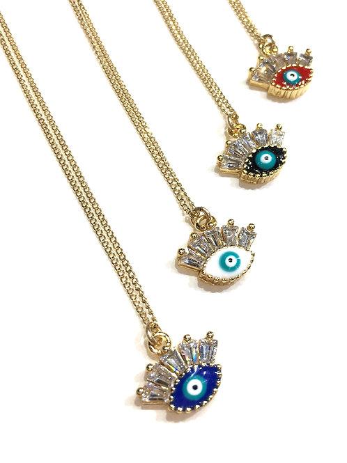 Jocelyn Kennedy Evil Eye Necklace With Eyelashes