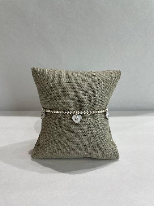 Jocelyn Kennedy Silver Enamel Bracelet: White Charms