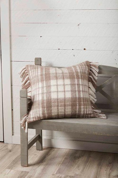 Mudpie Tan Plaid Pillow