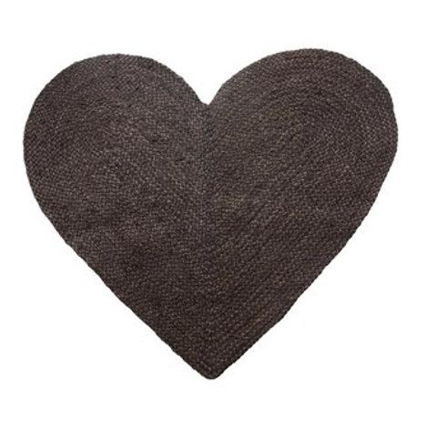 Braided Jute & Cotton Heart Rug