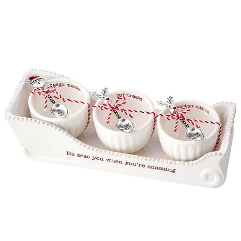 Mudpie Holiday Circa Sleigh Cracker Dish Dip Bowl Set