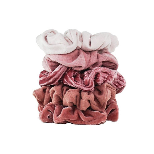 Kitsch Velvet Scrunchies Blush Set of 5