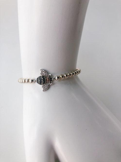 Jocelyn Kennedy Silver Beaded Silver Crystal Bee Bracelet