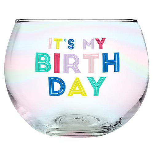 Its My Birthday Roly Poly Glass