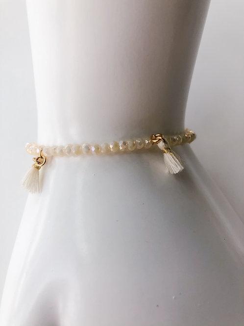 Jocelyn Kennedy Off White Tassel Bracelet