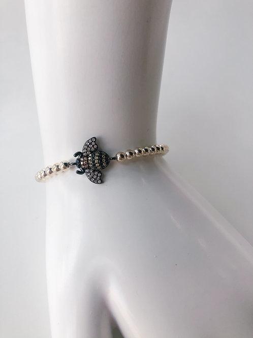 Jocelyn Kennedy Silver Beaded Black Crystal Bee Bracelet