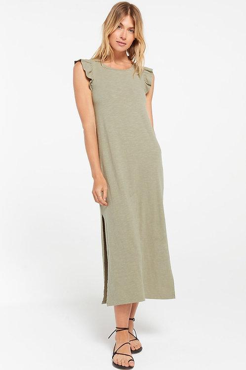 Z Supply Blakely Slub Ruffle Dress Meadow Green