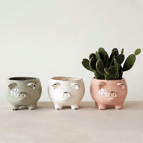 Stoneware Distressed Pig Planters