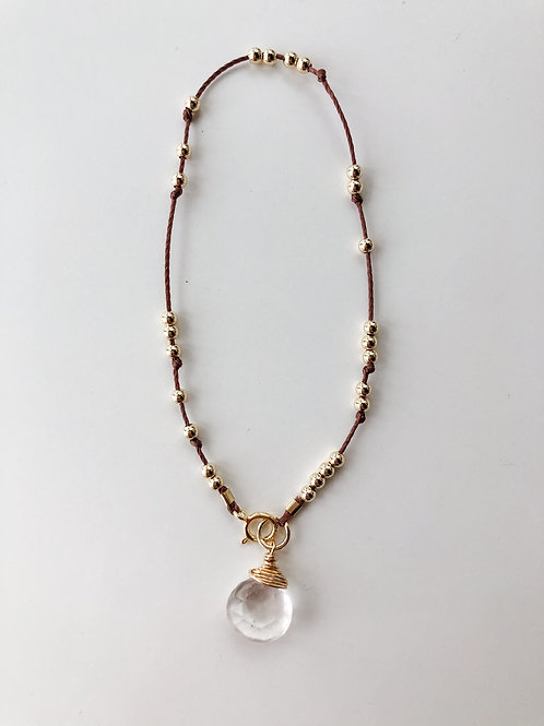 Jocelyn Kennedy Thread & Bead Bracelet- Clear Quartz
