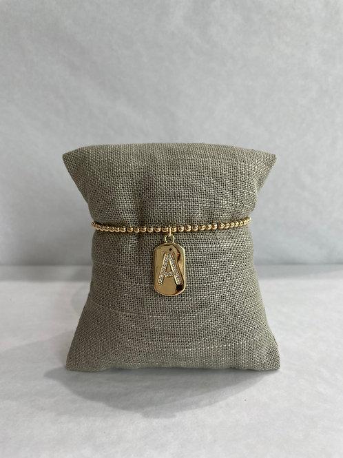Jocelyn Kennedy Gold Initial Bracelet 3mm Bead