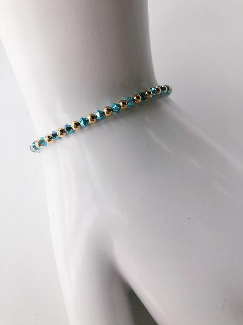 Jocelyn Kennedy Gold Bead Turqouise Swarovski Bracelet