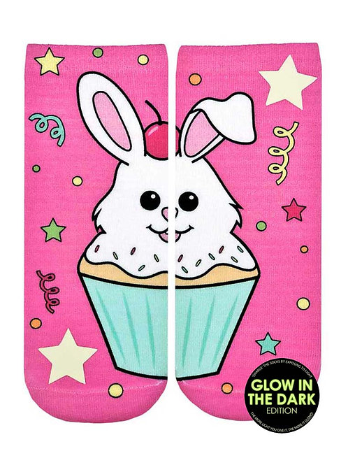 Living Royal Glow in the Dark Cupcake Bunny Ankle Socks