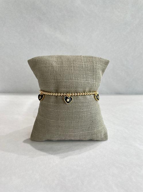 Jocelyn Kennedy Gold Enamel Bracelet: Black Charms