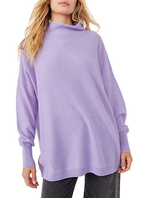 Free People Cashmere Ottoman Tunic Violet Flower