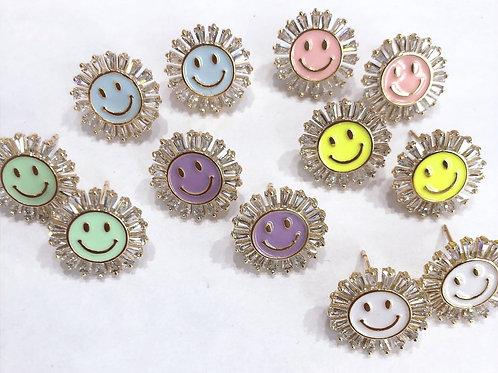 Jocelyn Kennedy CZ Baguette Round Happy Face Studs
