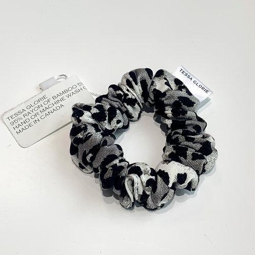 Tessa Glorie Slim Black and White Leopard Scrunchie