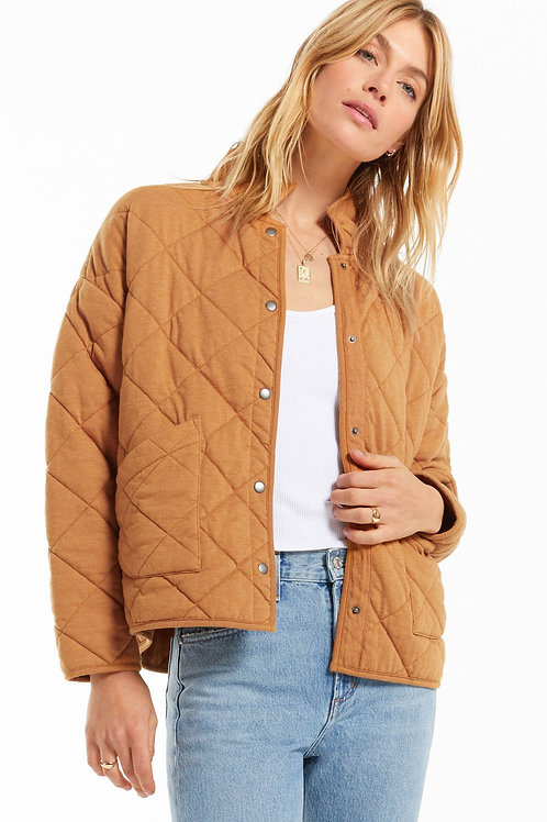 Z Supply Maya Quilted Jacket- Camel Brown