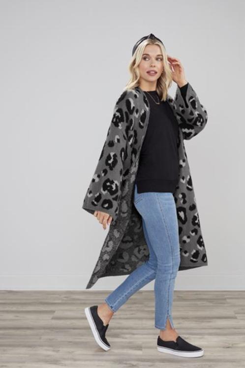 Gwyneth Cardigan - Grey Leopard