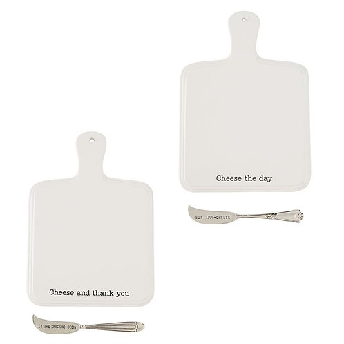 Mudpie Ceramic Cheese Paddle Board Serving Set