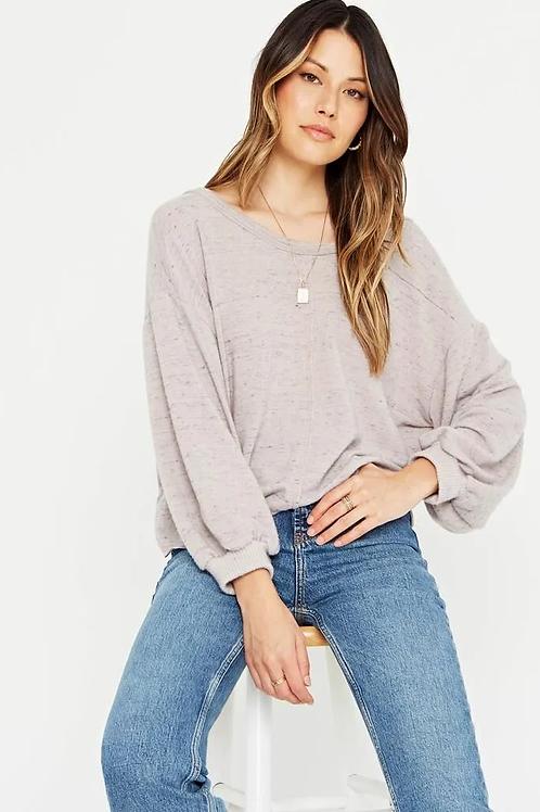 Project Social T Major Crush Back V Cozy Sweater Grey
