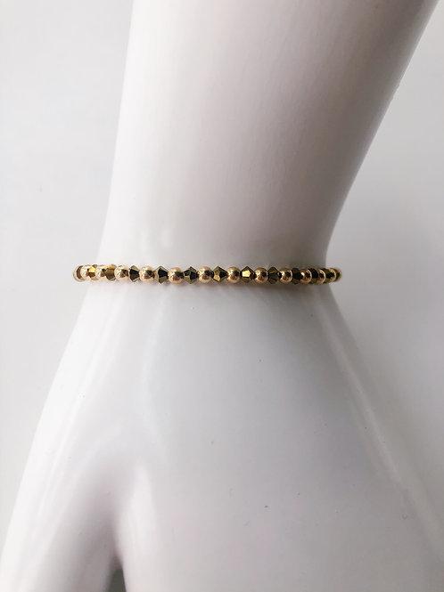 Jocelyn Kennedy Gold Beaded Good Swarovski Crystal Bracelet