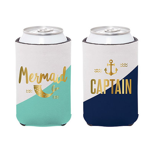 Mermaid and Captain Can Koozie Set