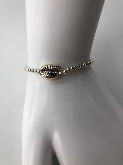 Jocelyn Kennedy Silver Beaded Gold Shell Bracelet