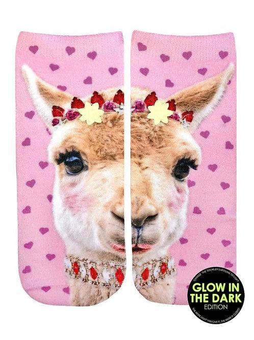Living Royal Glow in the Dark Girly Llama Ankle Sock