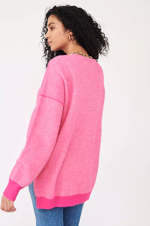 Free People Sweater Weather Pullover Hot Pink Combo