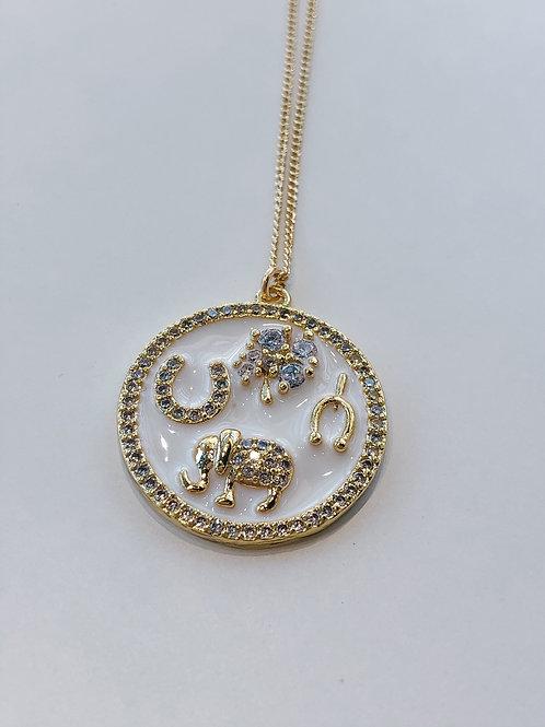 Jocelyn Kennedy Good Luck Charm Necklace-White