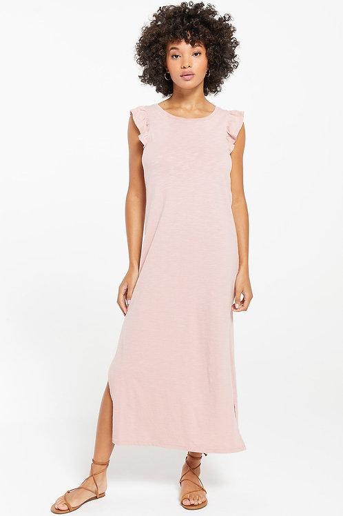 Z Supply Blakely Slub Ruffle Dress Pink Blossom